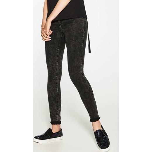 House jeansy z efektem sprania sllim fit czarny szary House jeansy