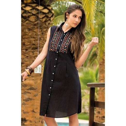 854a37baf9 Letnia bawełniana sukienka koszulowa Vittoria z kolekcji Iconique czarny  brazowy Iconique S okazyjna cena Astratex
