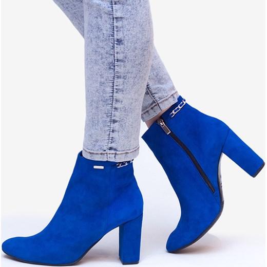 e2000c5ebce66 Niebieskie botki damskie WOJTOWICZ Awangarda Shoes w Domodi