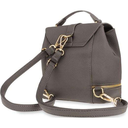 ab339a0e5507d Mały plecak damski plecaczek kuferek ozdobny suwak – czarny szary world -style.pl