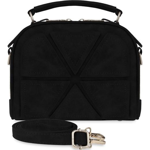 a06c54308a9f1 Praktyczna torebka damska dwukomorowy kuferek łaty 3d – czarny czarny  world-style.pl ...