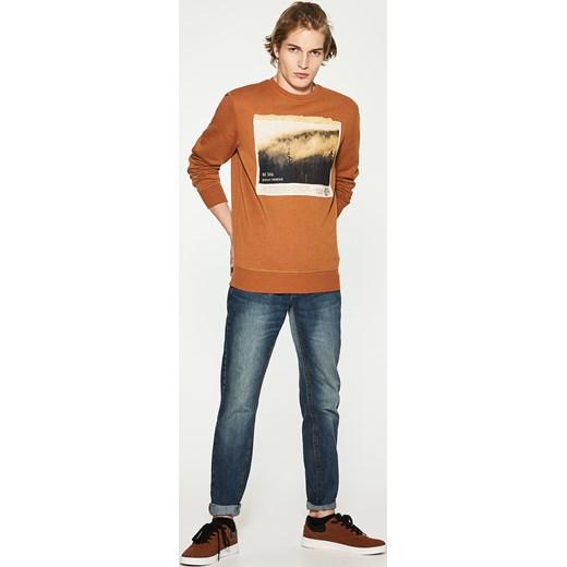 House jeansy regular classic niebieski pomaranczowy House jeansy