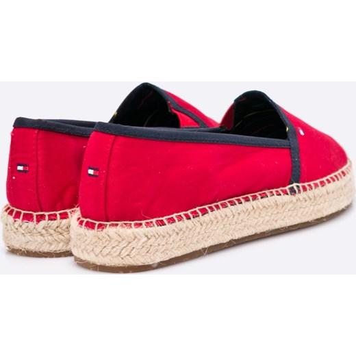 d6a99bda ... Espadryle damskie czerwone Tommy Hilfiger casual gładkie tkaninowe ...