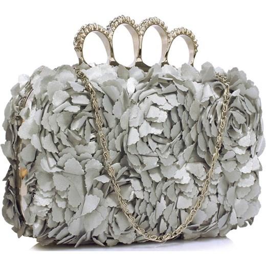 192632a718926 Srebrna torebka wizytowa z kwiatowych płatków szary Evangarda.pl w ...