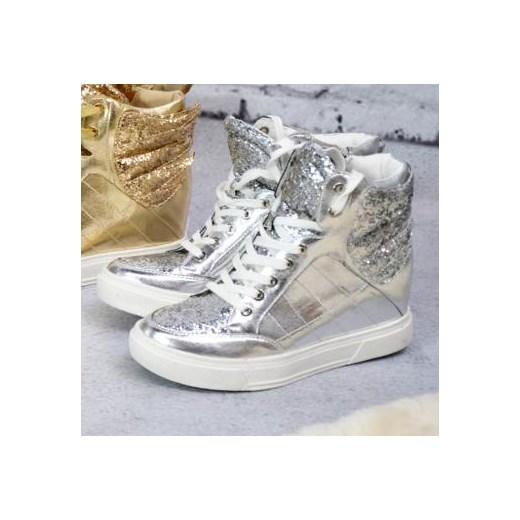 Srebrne sneakersy ze skrzydłami Alex Dolce Moda granatowy w
