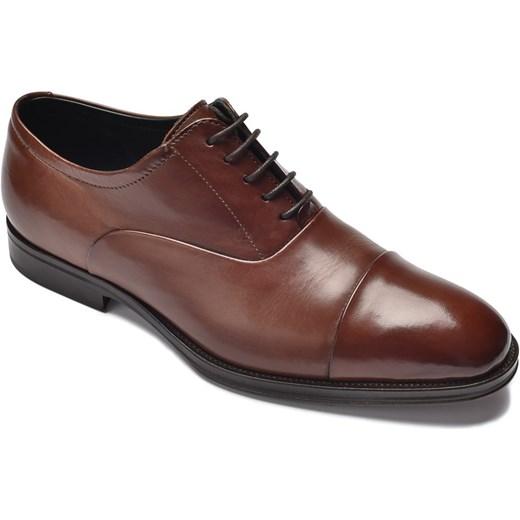 56402a37ec66e Eleganckie brązowe skórzane buty męskie typu Oxford Delave  EleganckiPan.com.pl