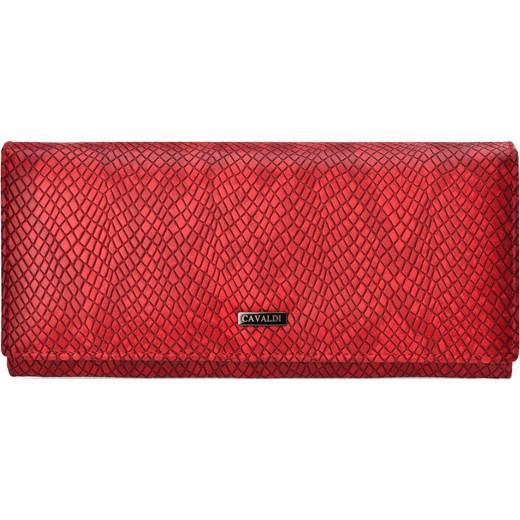 8a51f80b713f1 Portfel damski cavaldi duża miękka portmonetka eleganckie tłoczenie –  czerwony Cavaldi world-style.pl ...