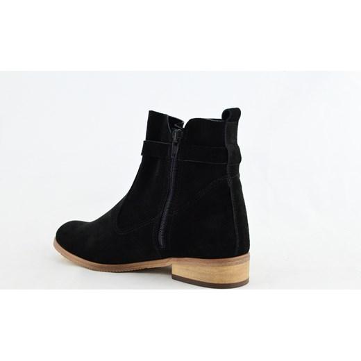 0408ea659b603c MargoShoes czarne botki workery na płaskim obcasie z ozdobnym troczkiem  skóra czarny