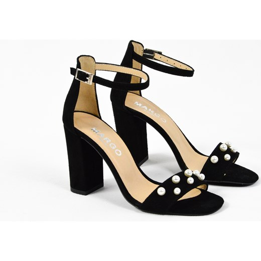 1430227d90b27 ... MargoShoes czarne sandałki z perłami na słupku skóra zamsz perły  Margoshoes czarny 36 ...