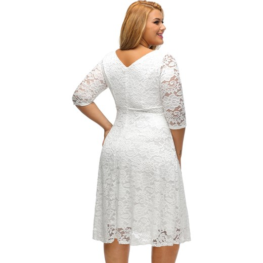 c783b19431 Sukienka Mini Duże Rozmiary Jasmina Biała Szary Elegrina W Domodi
