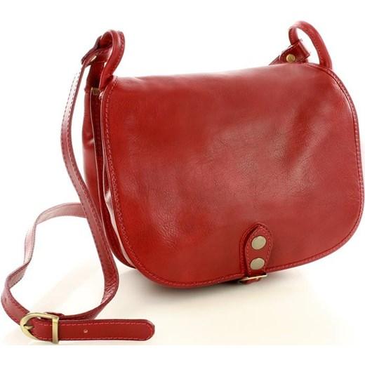 47d2c5ffdc881 MICHELLE Duża torebka włoska na długim pasku Czerwona Vera Pelle czerwony  One Size promocyjna cena merg ...