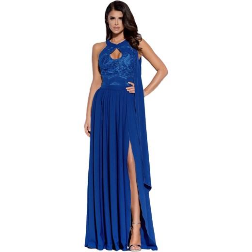 84109d86da Sukienka długa koktajlowa z rozporkiem 2124 Nowy Producent Yasmine w ...
