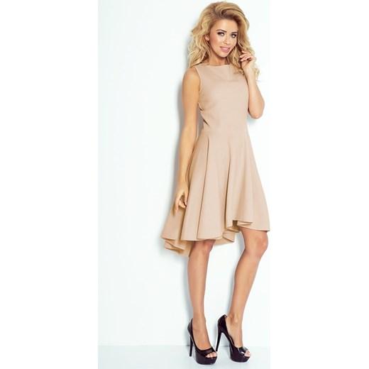 d812c7a204 ... 66-8 Gruba Lacosta - Ekskluzywna sukienka z dłuższym tyłem - BEŻOWA  Numoco XL Yasmine ...