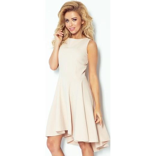 185cfc03a2 66-8 Gruba Lacosta - Ekskluzywna sukienka z dłuższym tyłem - BEŻOWA Numoco  bezowy XL ...
