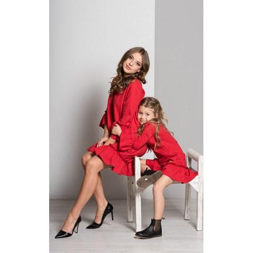 bfbe0ea747 Zestaw sukienek z falbaną czerwony MAMA I CÓRKA czerwony DaWanda ...