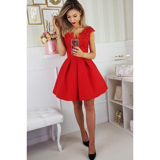 5d5fb66480 Sukienka balowa czerwona 2139 Yasmine w Domodi