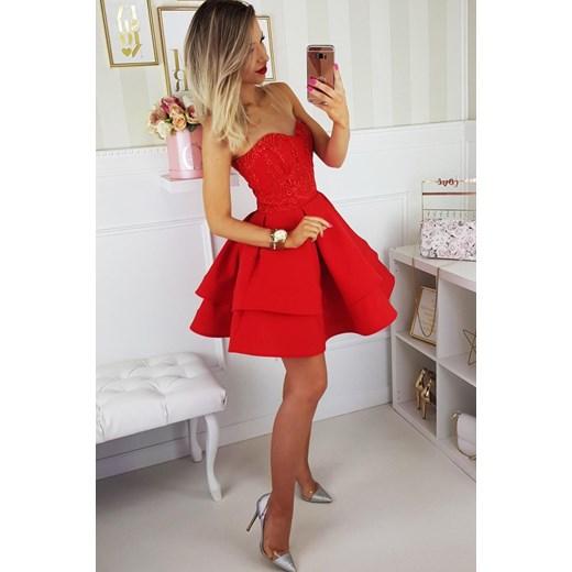 8c7c837c91 Sukienka gorsetowa rozkloszowana czerwona 2138 B Yasmine w Domodi