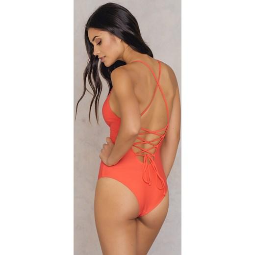 3809272d6c87 Jednoczęściowy kostium kąpielowy sznurowany z tyłu Na-kd Swimwear  pomaranczowy XX-Small Nakdcom