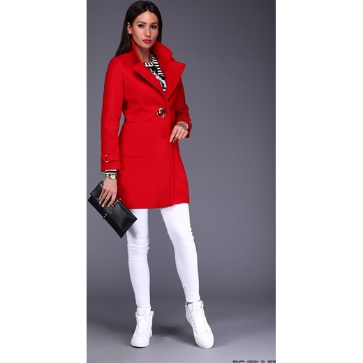 płaszcz damski anna biagiotti ** wełniany oryginalny czerwony + nit LUXURYONLINE