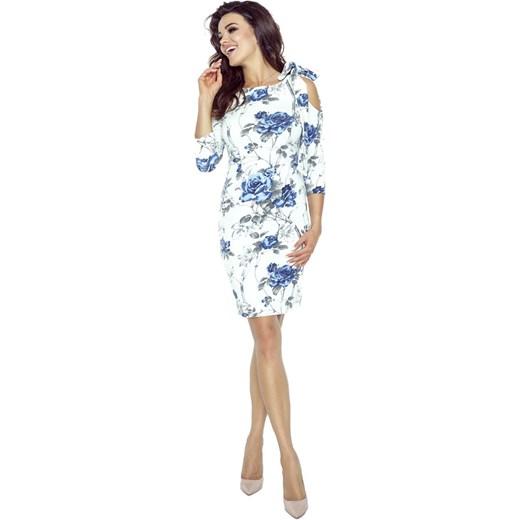 242d7741b1 Biała Sukienka w Niebieskie Kwiaty Wiązana na Jednym Ramieniu Molly.pl L
