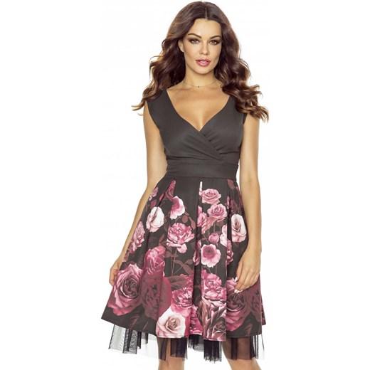 b47c417463 Czarna Sukienka Koktajlowa w Kwiaty z Tiulem - Wzór 2 Molly.pl fioletowy S  okazja