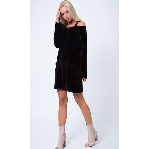 c6c39148b2de78 Sukienka welurowa z ramiączkami czarna 1599 fasardi fasardi.com w Domodi