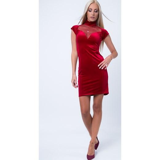 8d0b065600 Sukienka welurowa z przezroczystym dekoltem czerwona 1601 fasardi S  fasardi.com ...