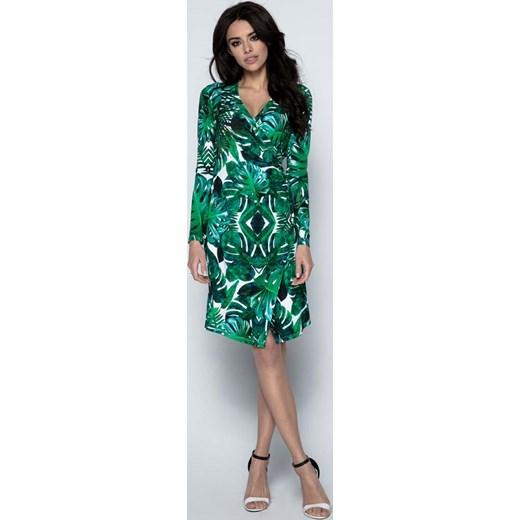 6b8fdb9b94 Sukienka Wizytowa Kopertowa w Tropikalne Zielone Liście Molly.pl w ...