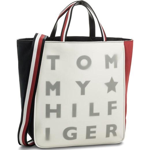 06668d742285f Torebka TOMMY HILFIGER - Logo Story Tote Transparent AW0AW04948 901 Tommy  Hilfiger zielony eobuwie.pl