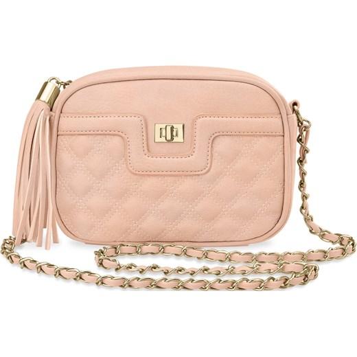 645d1f614ccf Pikowana chanelka torebka damska elegancka listonoszka frędzle – różowy  bezowy world-style.pl ...