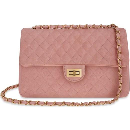 a715831833dd5 Duża listonoszka pikowana chanelka torebka damska – różowy rozowy  world-style.pl