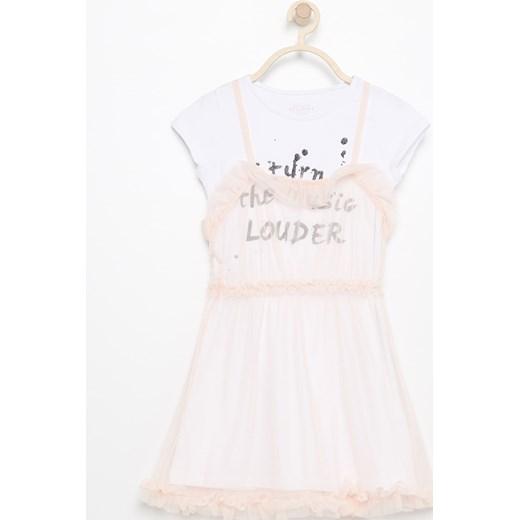 29e998e46d Reserved - Dwuwarstwowa sukienka - Biały bialy Reserved 128