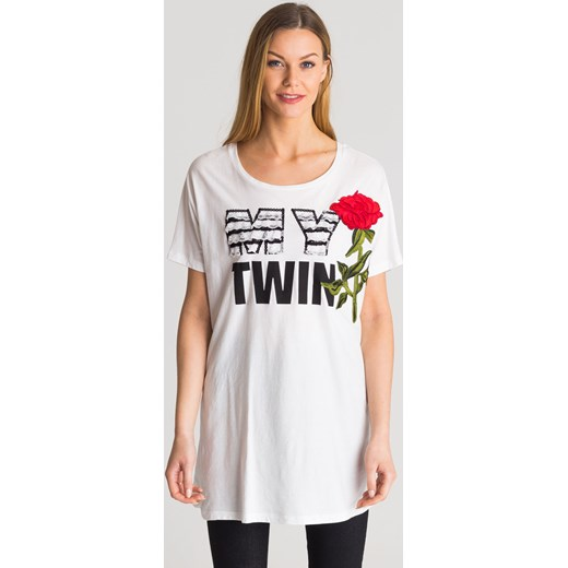 2898abb2f6 Biały t-shirt damski maxi My Twin z aplikacją marki Twinset S Velpa.pl ...