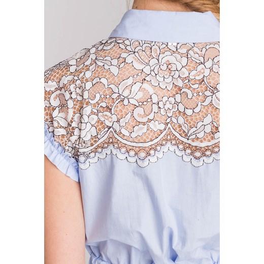 27de3eaac4 ... Niebieska sukienka My Twin z biało-czarną koronką Twinset XS Velpa.pl  ...