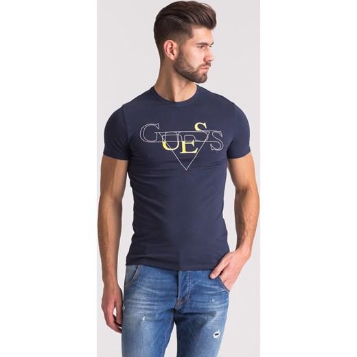 f81f78349cad1 Granatowy t-shirt męski z nadrukiem Guess Velpa.pl w Domodi
