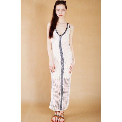f2cc39f55475f ... Biała sukienka ażurowa wiązana na plecach Guess bezowy XS Velpa.pl ...