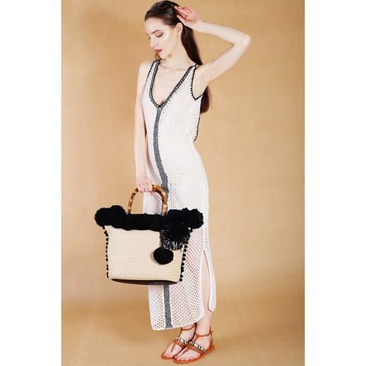 5045628f4e009 Biała sukienka ażurowa wiązana na plecach Guess bezowy Velpa.pl w Domodi