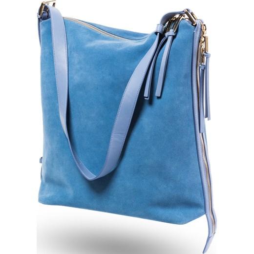 cced781562cd4 Zamszowa torba na ramię Elisabetta Franchi niebieski Velpa.pl w Domodi
