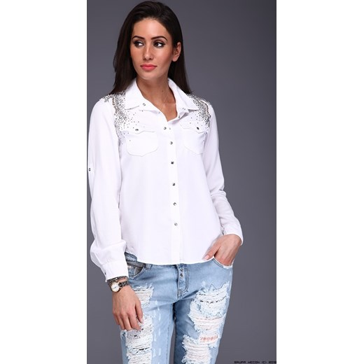 koszula damska d she ** w bieli + tysiące kryształków bialy  VbQuY
