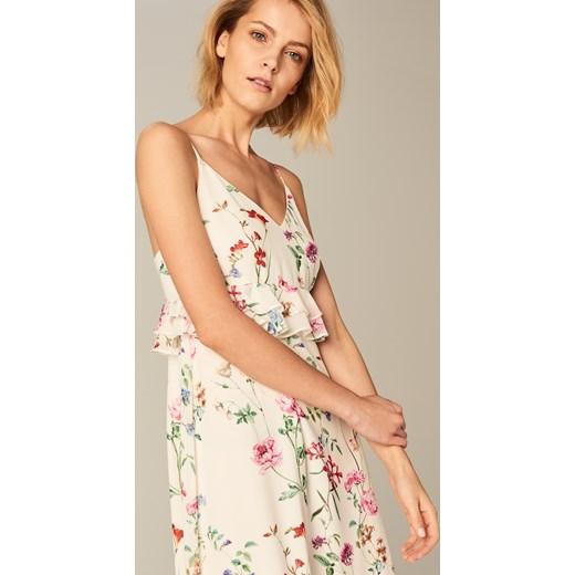 368374d3 Mohito - Zmysłowa sukienka w kwiaty Wielobarwn bezowy