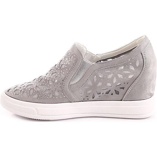 fa51c71b Sneakersy damskie na koturnie ażurowe szare Jezzi ButyRaj.pl w Domodi
