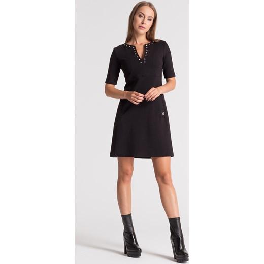 fe502c8cdc Czarna sukienka z krótkim rękawem Versace Jeans Velpa.pl w Domodi