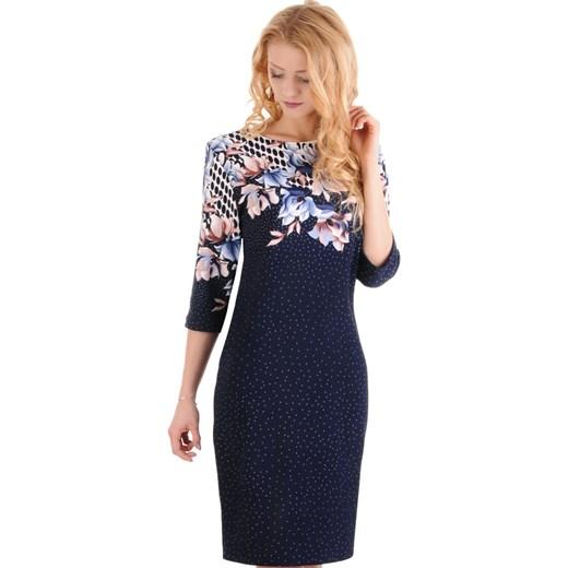 81277392fa M97 Elegancka sukienka DOTS w KWIATY (44-52) Lamar w Domodi