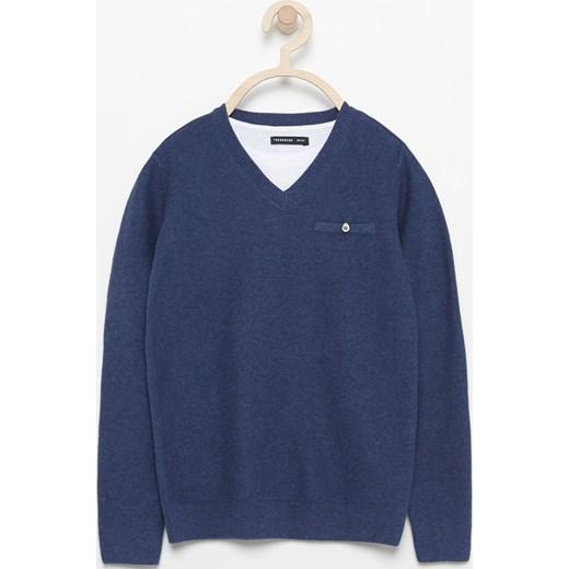 5a0b2a11eb Reserved - Sweter z dekoltem w serek - Granatowy granatowy Reserved 146
