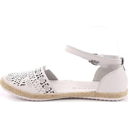 Sandały damskie skórzane espadryle ażurowe białe Vinceza ButyRaj.pl