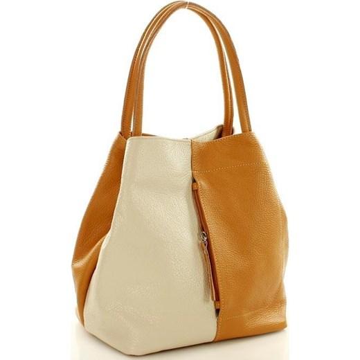ec1a96a8e8bd2 Torebka skórzana italian bag MAZZINI CLARA - camel z beżem Mazzini zielony  One Size okazyjna cena ...