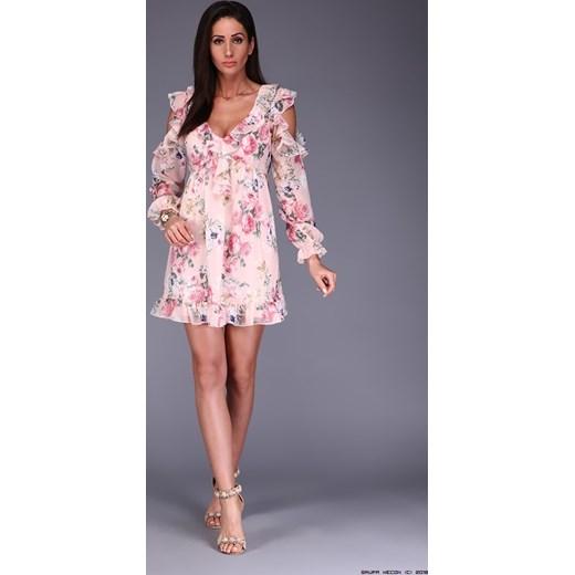 4302350f67 sukienka polscy producenci    pudrowa szyfonowa sukienka + kwiaty M  LUXURYONLINE ...