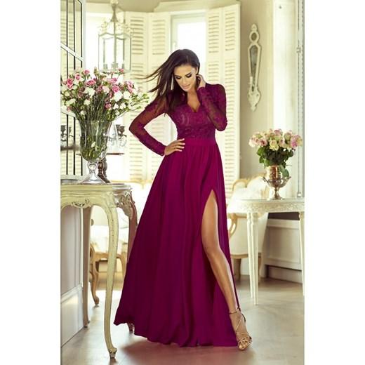 37e9974f72 Sukienka długa wieczorowa maxi Luna burgundowa Yasmine w Domodi