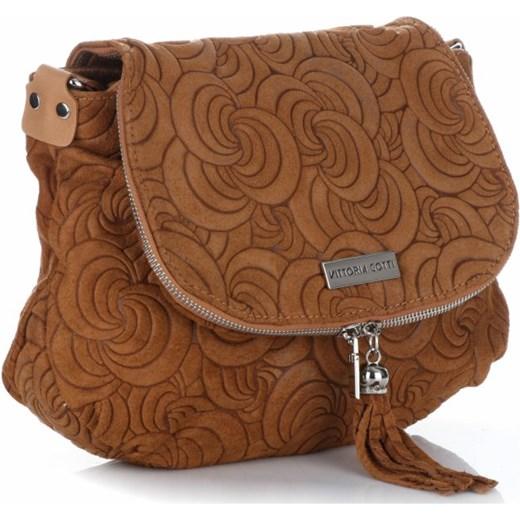7b7229fd781c0 ... Modna Torebka Listonoszka Skórzana Vittoria Gotti Made in Italy Ruda  Genuine Leather brazowy PaniTorbalska ...