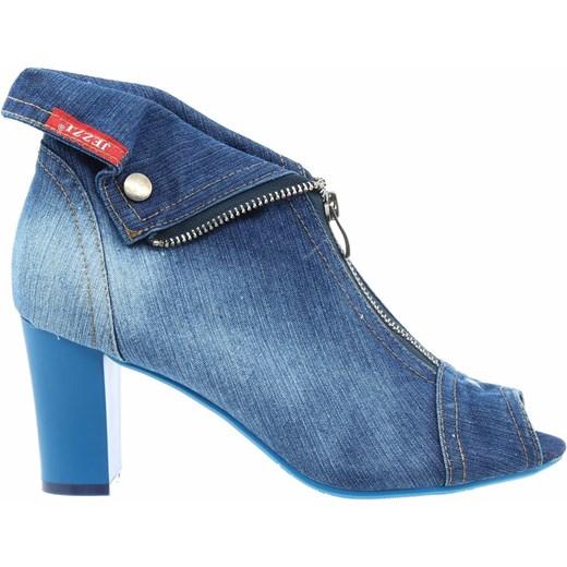 Botki jeansowe peep toe Jezzi SA107 10 niebieskie trendybuty.pl